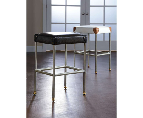 Curate by Artistica Metal Design - Ivory Canvas Martial Backless Barstool - C408-045