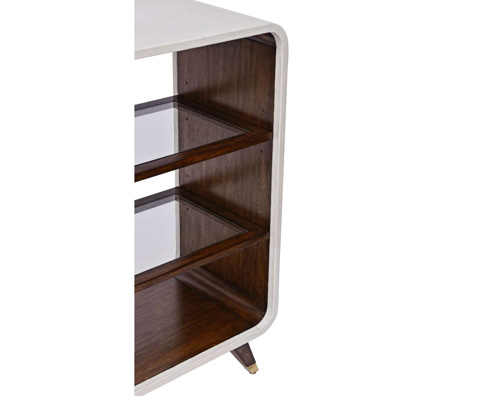 Curate by Artistica Metal Design - Ivory Canvas Legged Open Bookcase - C408-935