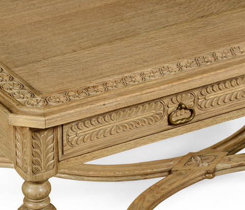 Jonathan Charles - Natural Oak Chip Carved Rectangular Coffee Table - 493129-L