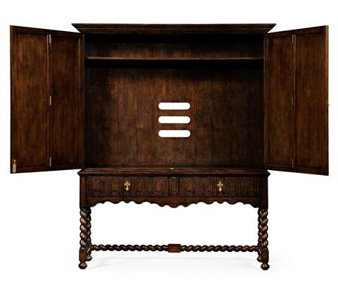 Jonathan Charles - Dark Oak TV Cabinet with Open Base - 493146