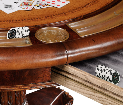 Jonathan Charles - Mahogany Round Poker Table - 493366
