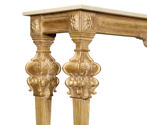 Jonathan Charles - Marble Topped Baroque Gilded Console - 493558