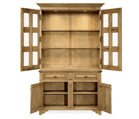 Jonathan Charles - Natural Oak Tudorbethan China Cabinet - 493579-L