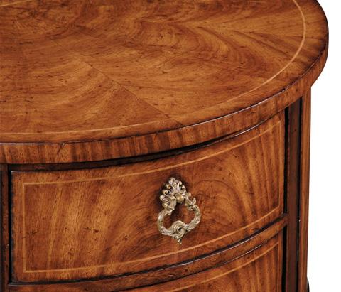 Jonathan Charles - Crotch Walnut Demilune Narrow Table - 493929