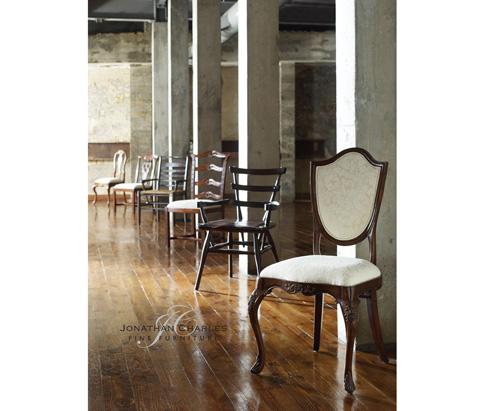 Jonathan Charles - Dark Oak Ladder Back Country Side Chair - 494218
