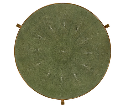 Jonathan Charles - Green Round Faux Shagreen Gilded Side Table - 494253-G