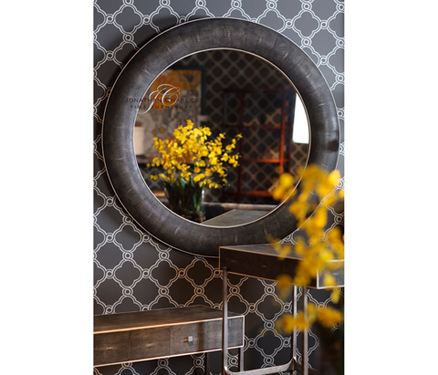 Jonathan Charles - Round Wall Mirror with Faux Shagreen - 494257