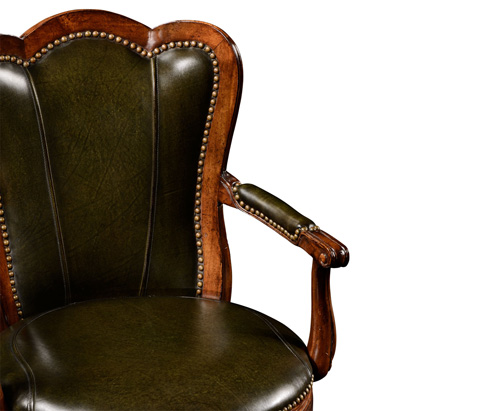 Jonathan Charles - Revolving Barstool in Green Leather - 494385