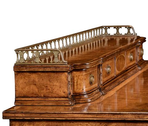 Jonathan Charles - Crotch Walnut Buffet with Brass Gallery - 494508