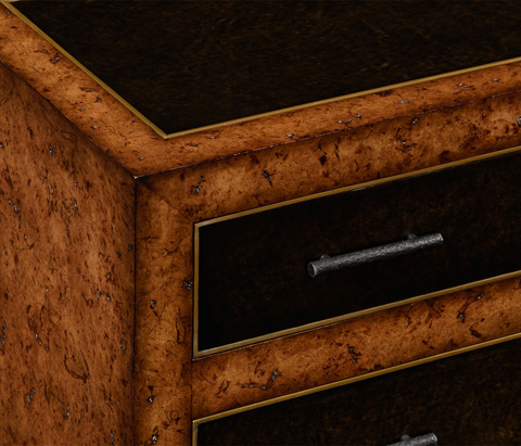 Jonathan Charles - Rustic Burl Oak And Leather Chest of Four Drawers - 494644