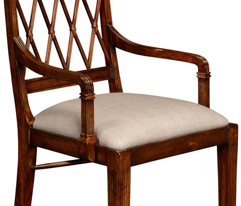 Jonathan Charles - Regency Style Lattice Back Dining Arm Chair - 494948