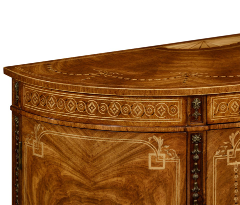Jonathan Charles - Sheraton Style Walnut Bow Fronted Commode - 495039-CWL