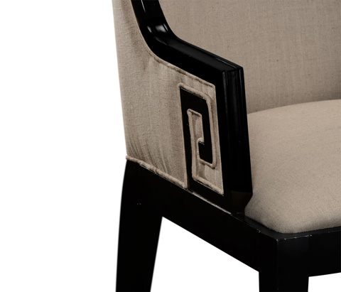 Jonathan Charles - Greek Key Design Biedermeier Black Arm Chair - 495047-BLA-AC
