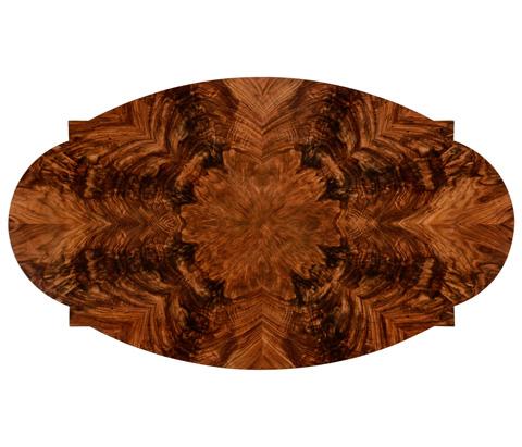 Jonathan Charles - Oval Black Twisted Leg Quatrefoil Coffee Table - 495155-BLA