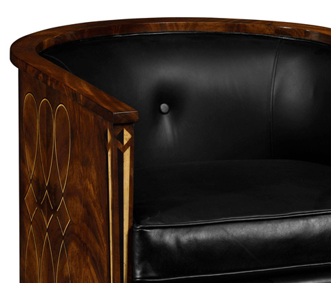 Jonathan Charles - Black Leather Club Chair - 495196-BLL