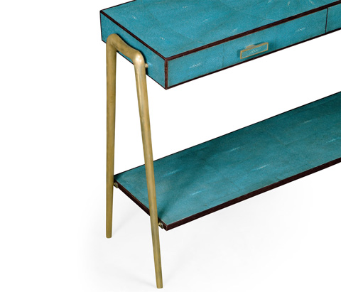 Jonathan Charles - Teal Faux Shagreen And Brass Legged Console - 495204