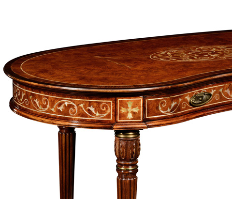 Jonathan Charles - Burl and Mother of Pearl Kidney Shaped Desk - 499072