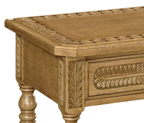 Jonathan Charles - Chip Carved Natural Oak Console Table - 493099-L