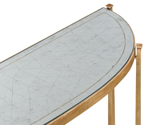 Jonathan Charles - Gilded Iron Demilune Console Table - 494149-G