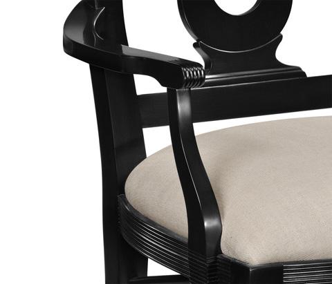 Jonathan Charles - Black Lock Dining Arm Chair - 495351-AC-BLA