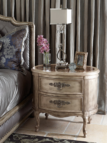 Marge Carson - Oval Drawer Nightstand - RVL13