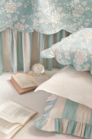 Pine Cone Hill, Inc. - Madeline Stripe Blue Bed Skirt - King - Q227BSK