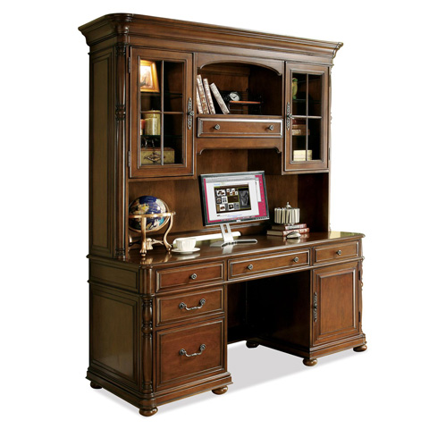 Riverside Furniture - Computer Credenza with Hutch - 24533