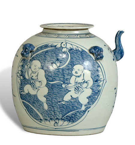 Sarreid Ltd. - Blue & White Tea Serving Pot - 29114