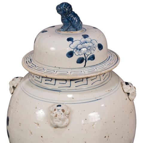 Sarreid Ltd. - Blue & White Ceramic Urn - 29885