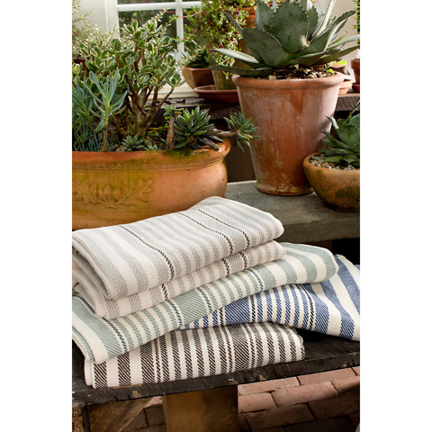 Dash & Albert Rug Company - Rugby Stripe Platinum Woven Cotton Throw - RDB178-THR