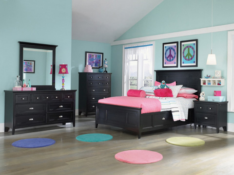 Image of Bennett Black Two Drawer Nightstand