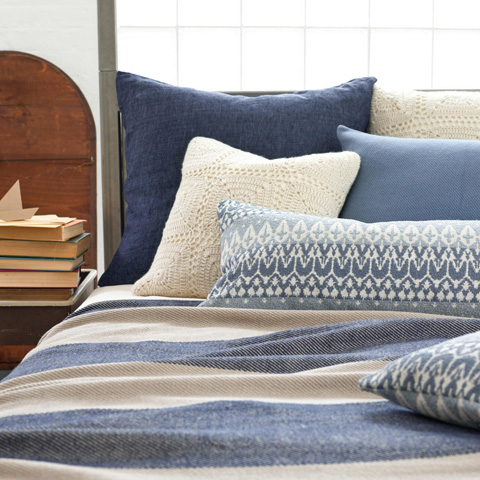 Pine Cone Hill, Inc. - Cotton Twill Oatmeal/Ink Blanket - King - BOAIK