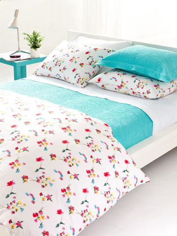 Pine Cone Hill, Inc. - Embroidered Hem White/Aqua Sheet Set - King - SESAK