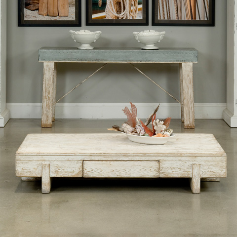Sarreid Ltd. - Antique White Block Coffee Table - 30328