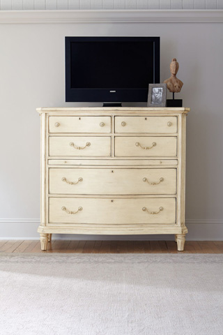 Image of Six Drawer Vintage White Media Chest