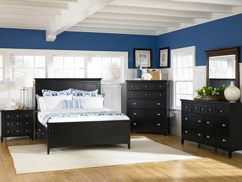 Image of Southampton Black Three Drawer Nightstand