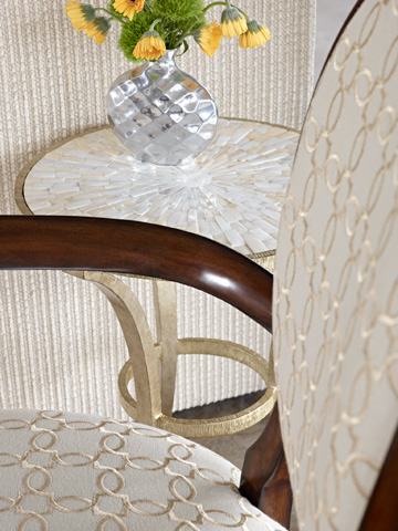 Marge Carson - Round Metal Chairside Table - SNA30-1