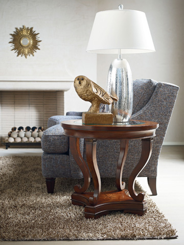 Image of Round Glass Top Lamp Table