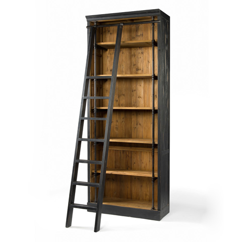 Image of Matte Black Ivy Bookcase And Ladder