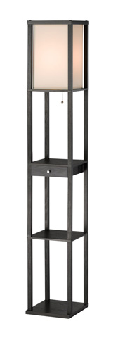 Image of Adesso Parker One Drawer Shelf Lamp in Black