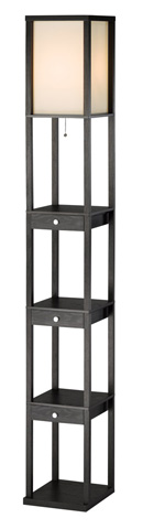 Image of Adesso Murray Three Drawer Shelf Lamp in Black
