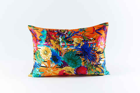 Image of Flower Stripe Silk Pillow