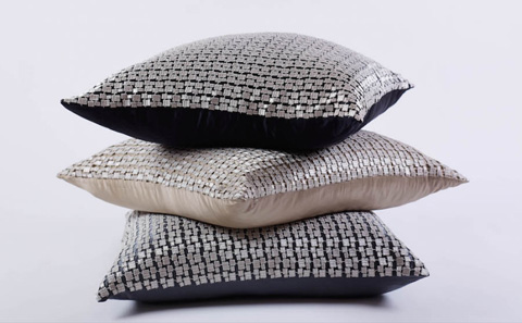 Image of Metallic Mosaic Pillow in Platinum