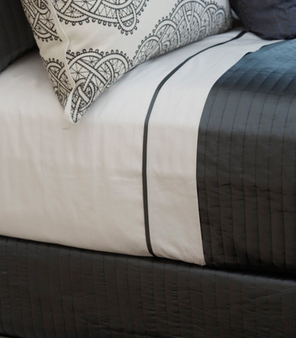 Image of Cotton Sheet Set with Charmeuse Trim