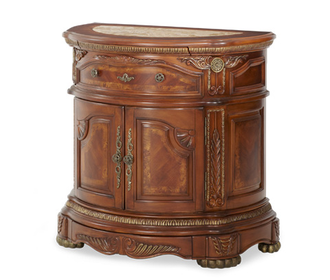 Image of Single Drawer Nightstand with Cabinet Storage
