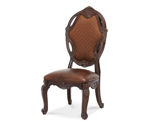 Image of Upholstered Side Chair with Leather Seat