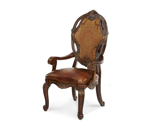 Image of Upholstered Arm Chair with Leather Seat