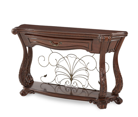 Image of Console Table with Elegant Metal Scroll Detail