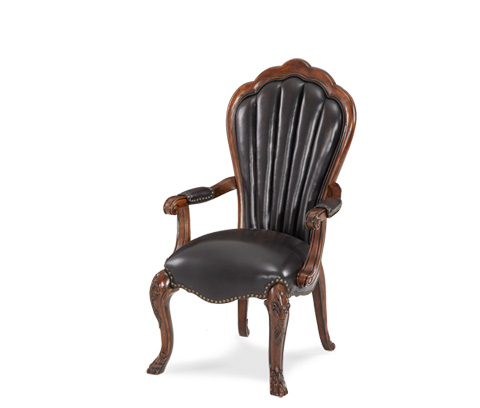 Image of Upholstered Leather Shell-Back Arm Chair