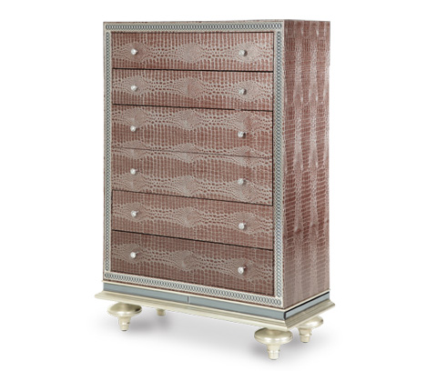 Image of Upholstered Five Drawer Chest